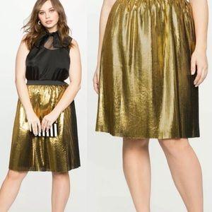 Eloquii Gold Pleated Metallic Skirt 16